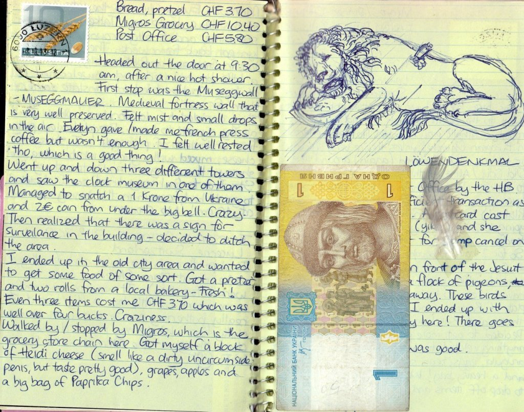 travel journal ideas: - sketches and money