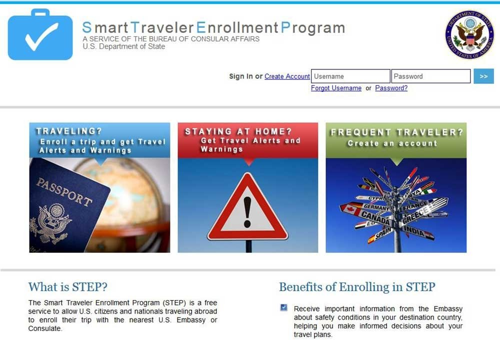 travel registration- USA Smart Traveler Enrollment Program