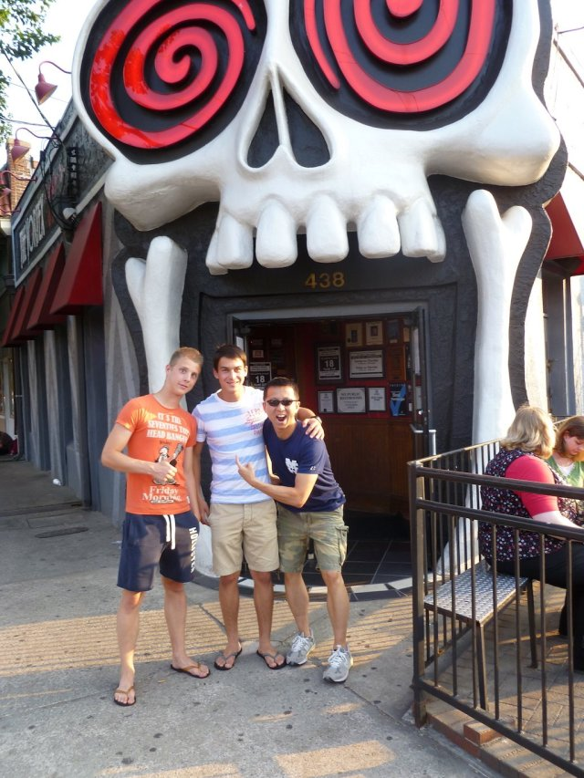 Couchsurfing tips: Halef, Jakob, and Patrick at a local Atlanta restaurant.