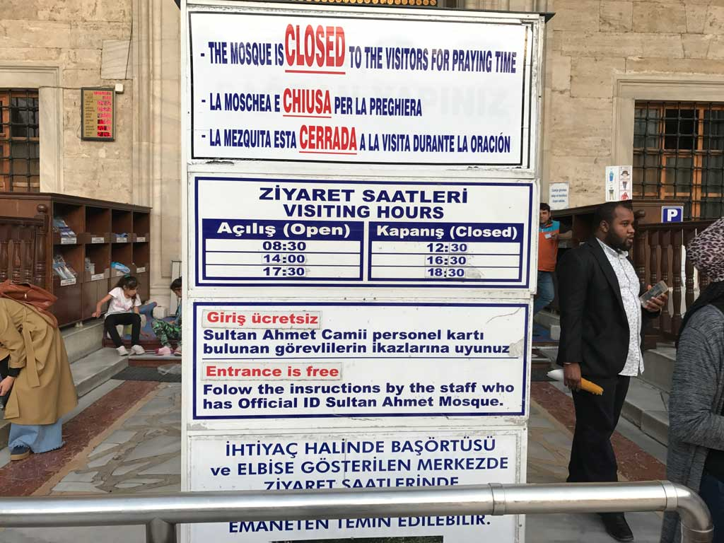 Blue Mosque information board