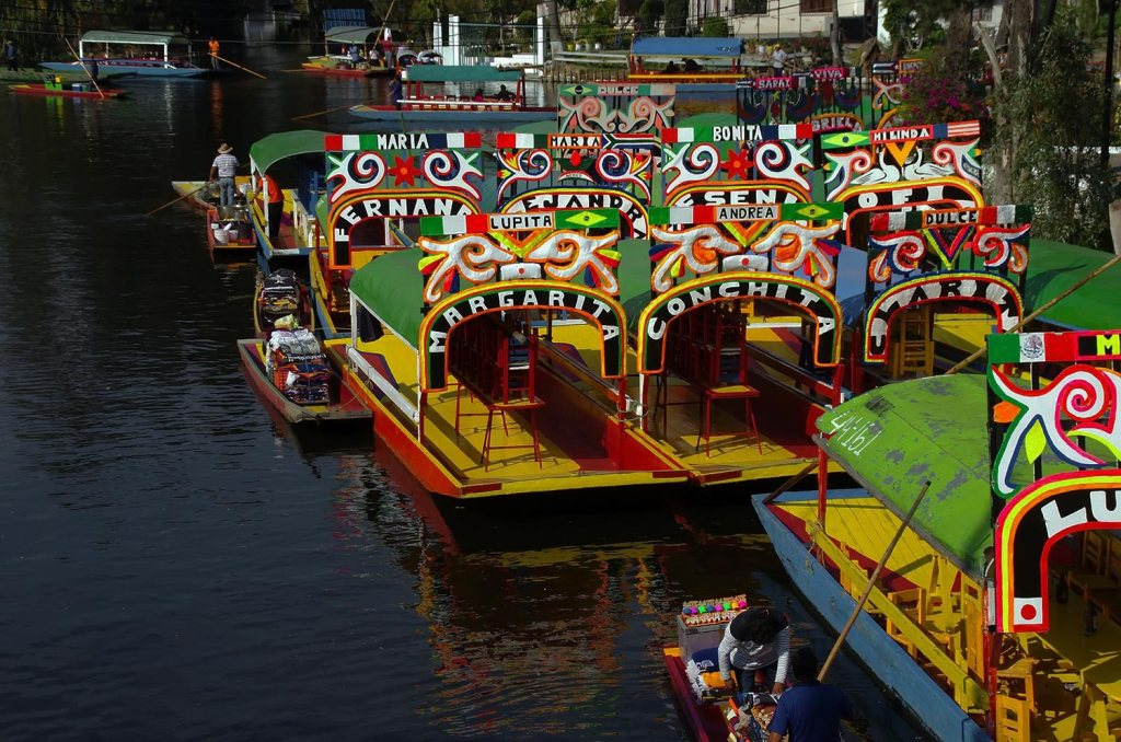 Colorful Xochimilco boats