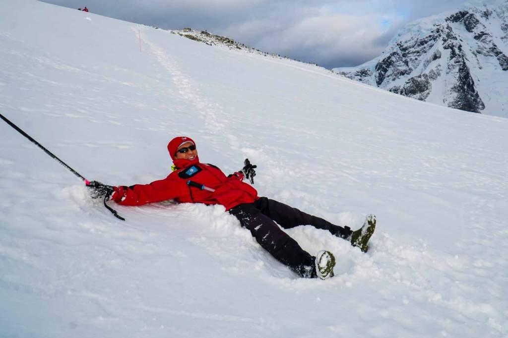 halef making a snow angel on antarctica