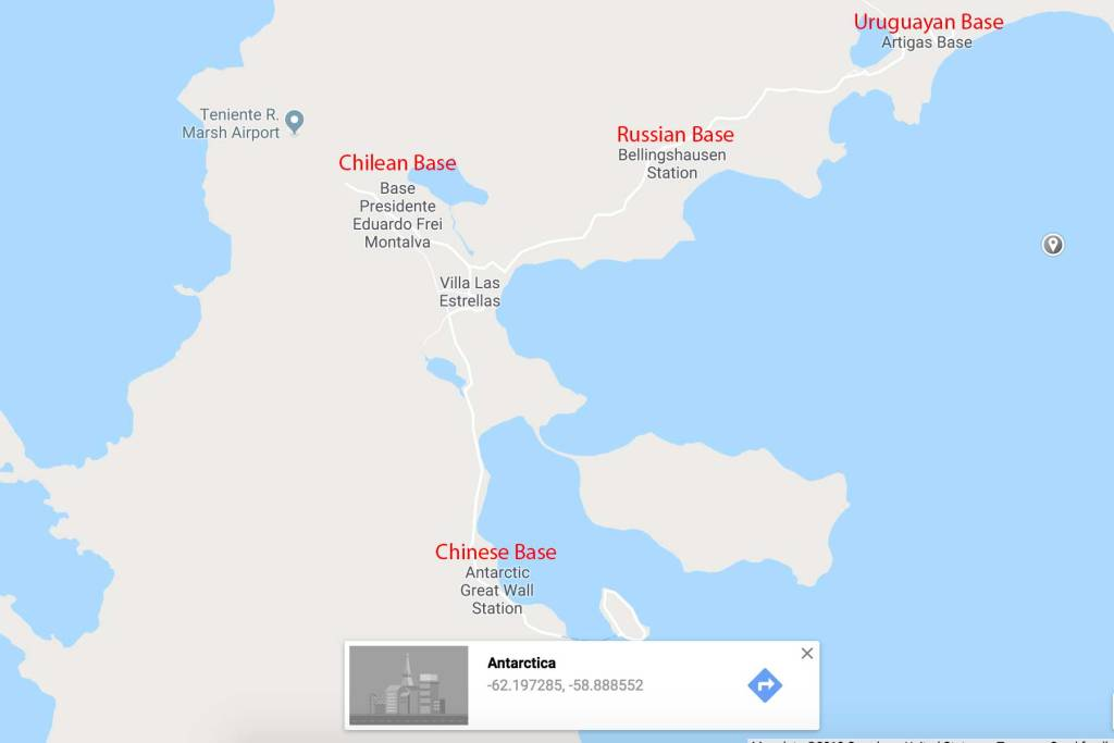 A google map of the based on King George Island, including China, Chile, Russia, and Uruguay