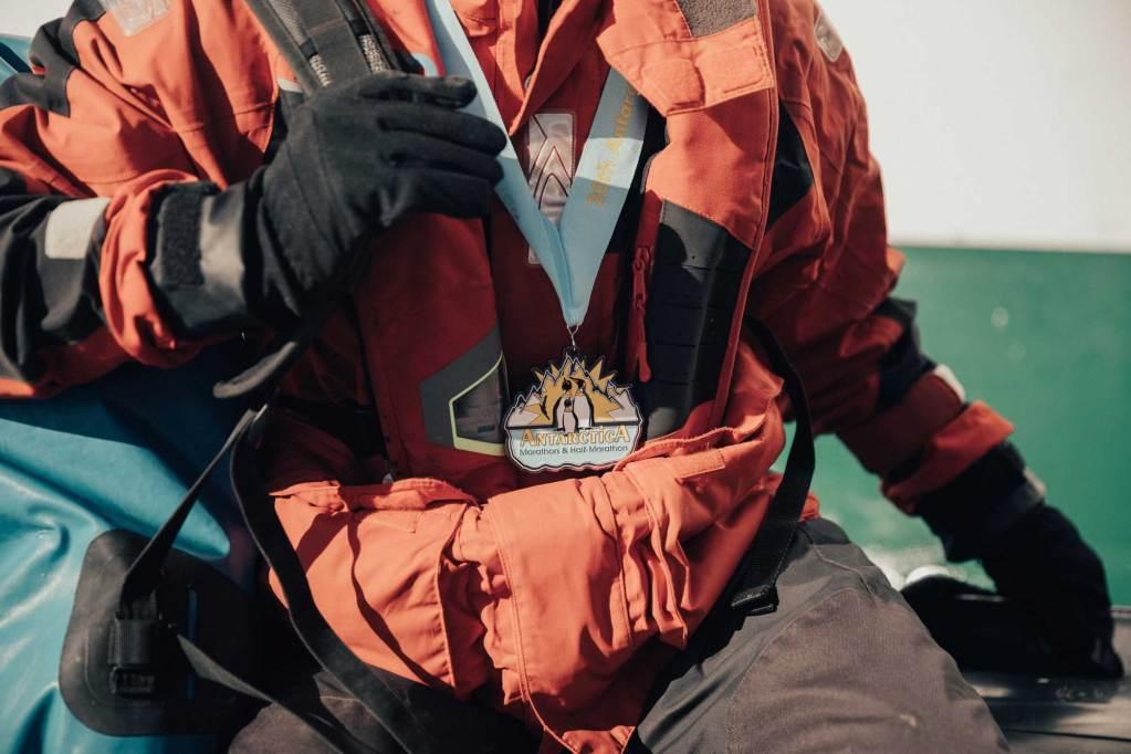 the antarctica marathon finisher's medal