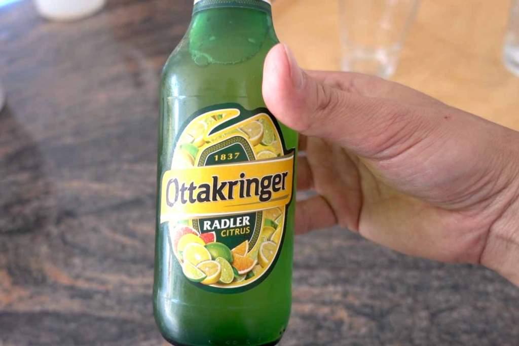 Ottakringer green beer bottle
