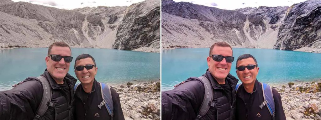 Before and after processed selfie of Laguna 69