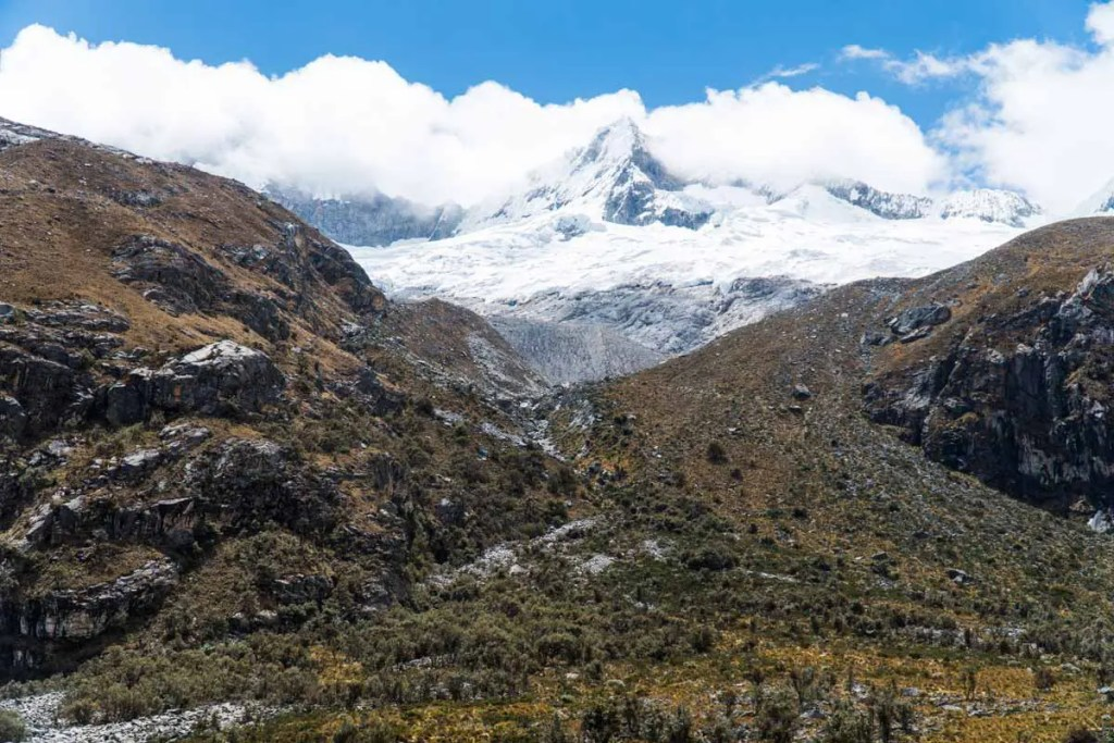 A beautiful high peak and the valley below on the hike down from Laguna 69