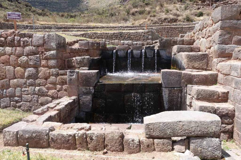 Ceremonial fountain at Tipon Inca ruins. Still functioning normally.