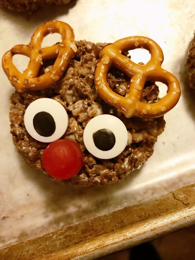 Rudolph Rice Krispie treats nose