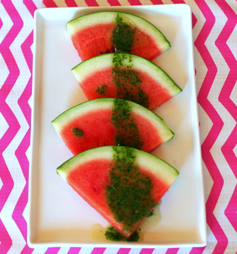 Watermelon with Sweet Pesto