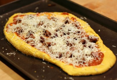 Pumpkin Pizza with Fontina and Italian Sausage