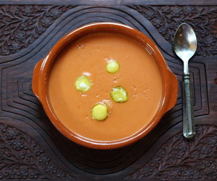 Salmorejo (Chilled Spanish Tomato Soup) with Frozen Olive Oil