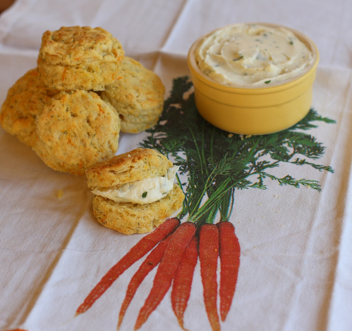 Carrot and Dill Biscuits with Cream Cheese Butter