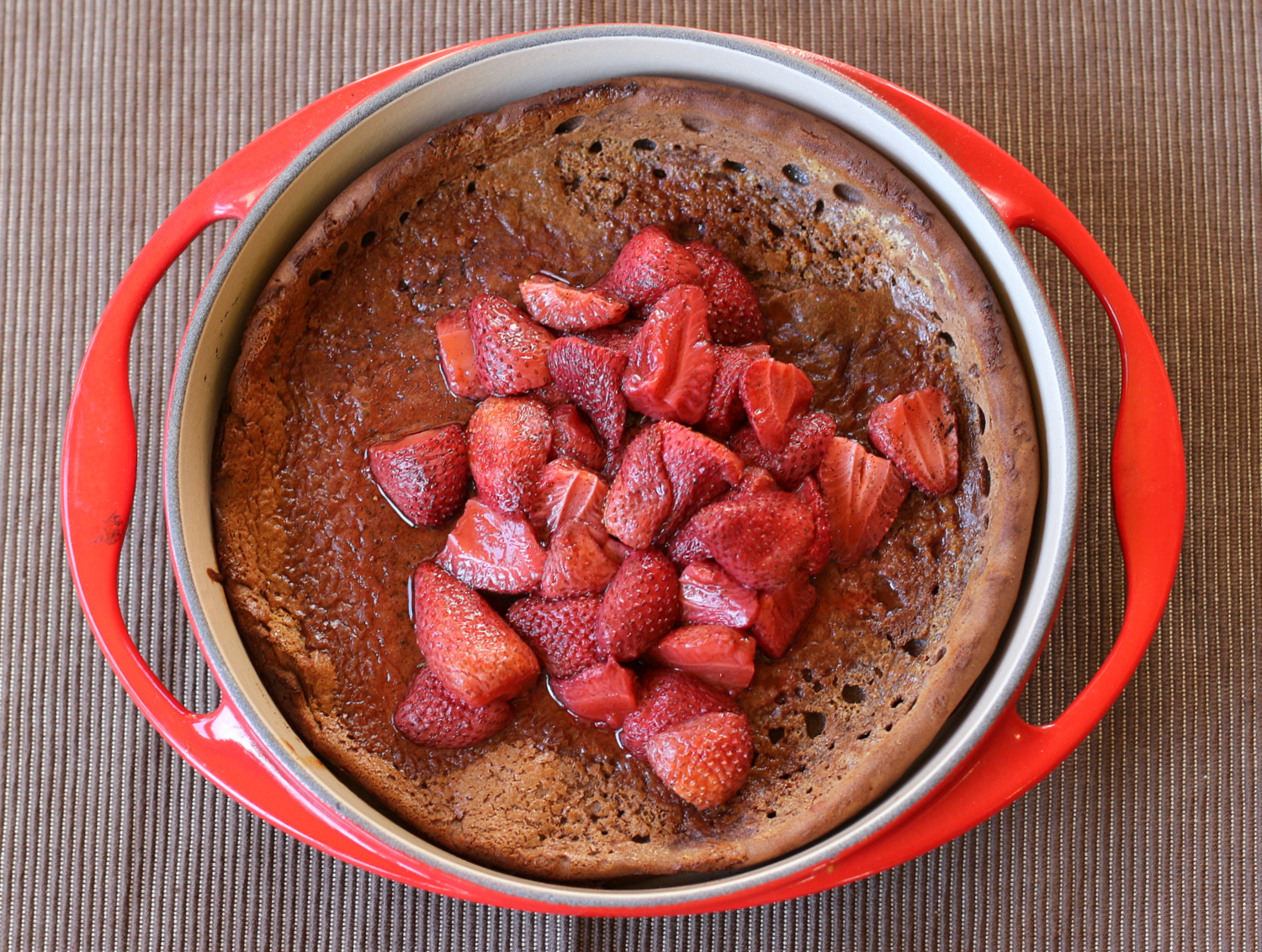 Chocolate Dutch Baby with Vanilla Roasted Strawberries