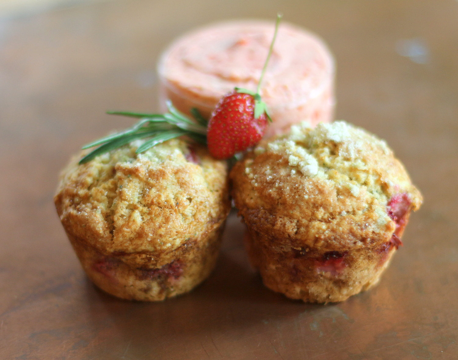 Strawberry Rosemary Muffins with Strawberry Rosemary Butter