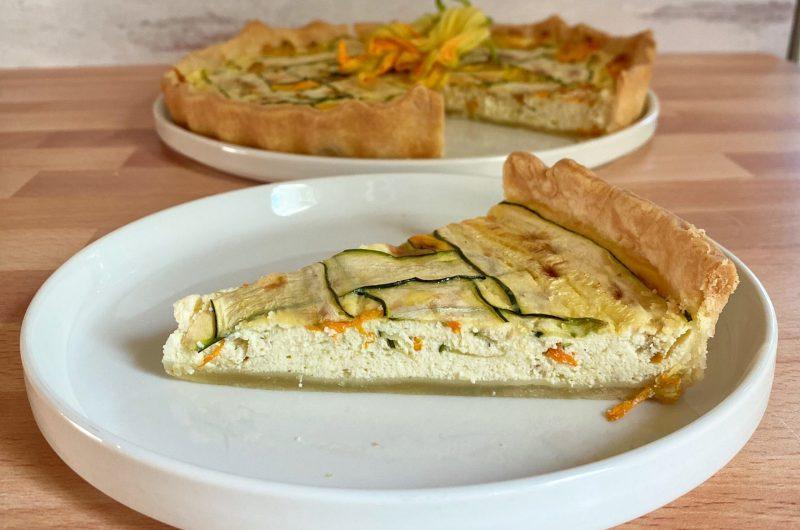 Squash Blossom and Zucchini Ricotta Tart