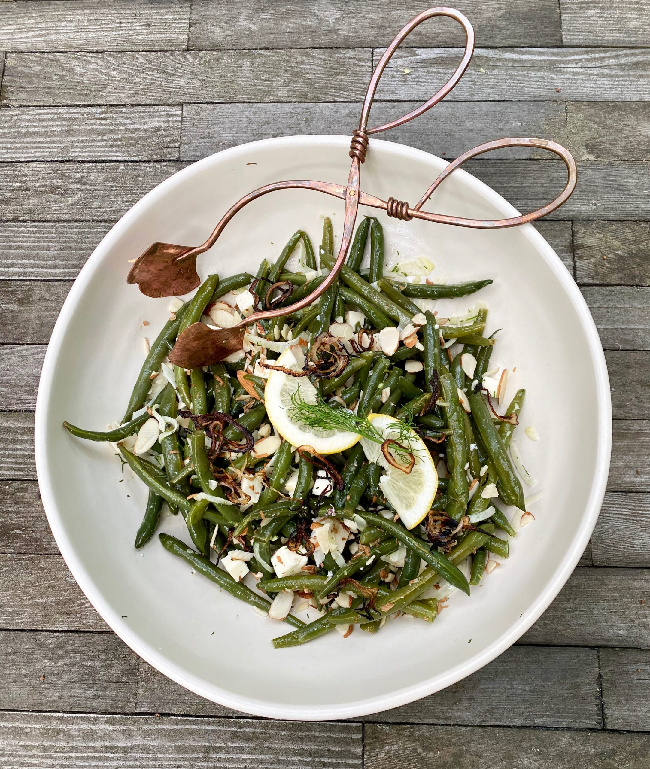 Green Bean Salad with Fennel and Feta and Crispy Shallots
