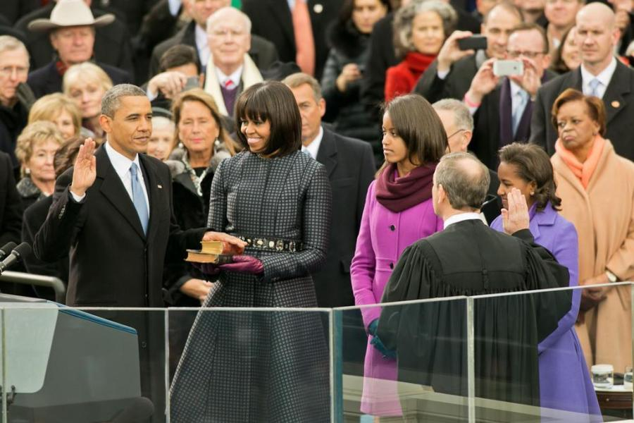 President Obama swears into Office Jan. 21. (This photo is courtesy of Barack Obama Facebook page)