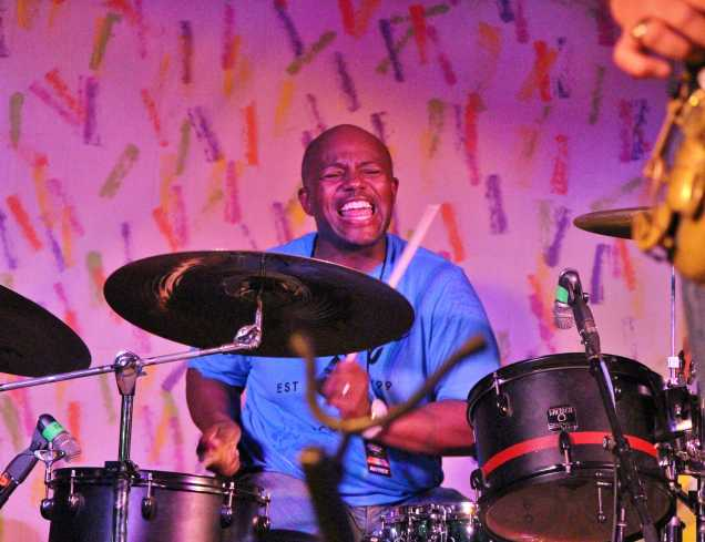 Unkle Funkle drummer gives an energetic performance at the 29th Annual Bakersfield Jazz Festival on May 9.