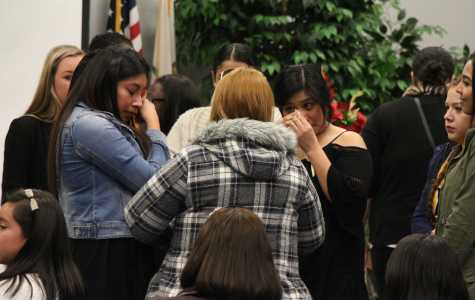 CSUB alumna Elizabeth Ascencio's friends shared memories, hugs and condolences with her mother at the memorial service hosted by Phi Sigma Sigma sorority.  Photo by Alejandra Flores/The Runner