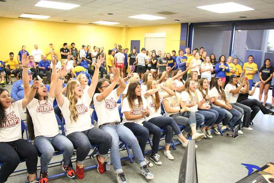 The softball team reacts to drawing UCLA for the NCAA Division I Regionals during Sunday's selection show in the Icardo Room.  Photo by Alejandra Flores/The Runner