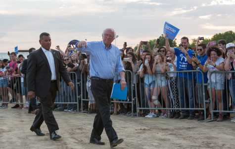 Senator Bernie Sanders walks to the podium during the rally at the Kern County Fairgrounds on Saturday, May 28, 2016. Photo by Ben Patton/The Runner