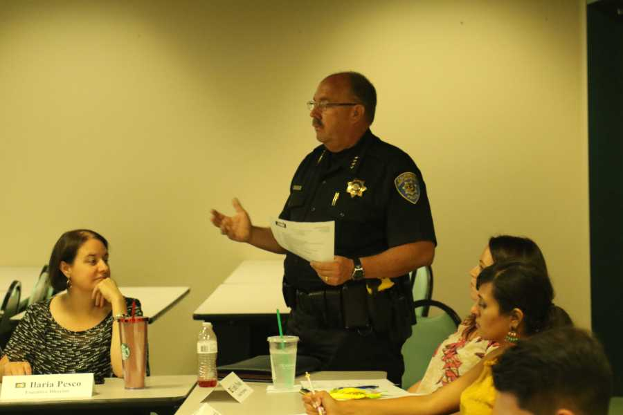 CSUB Chief of Police Marty Williamson speaks at the ASI meeting  about security on campus on March 24. Photo by Javier Valdes/The Runner
