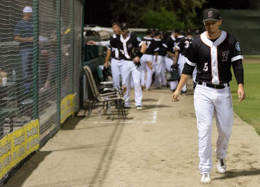 Designated hitter Justin Seager walks off the field for the final time as a member of the Bakersfield Blaze organization. Photo by Ben Patton/The Runner