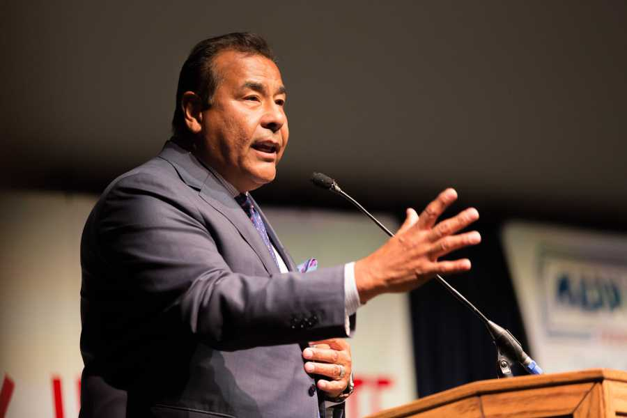 "John Quinones shared clips from ABC's ""What Would You Do? To complement his lecture on morality in the United States at the Kegley Institute of Ethics fall event in the Dore theater on Thursday, Sept. 22 . By Ben Patton/ The Runner"