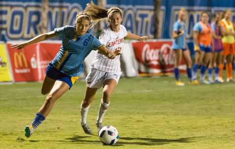 Sophie Freeman maneuvers around Eastern Washington's Kiley Norkus during Friday night's game at the CSUB main soccer field. Ben Patton/ The Runner