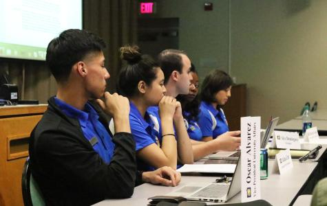 ASI members sit in a meeting discussing different topics affecting CSUB.  Photo by Javier Valdes/The Runner