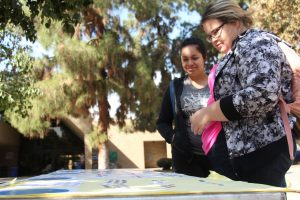 CSUB students had the chance to give their input on some of the garden's features. Photo by Esteban Ramirez/The Runner