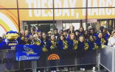 CSUB spirit and pep band squads take a picture in front of the studio for the Today Show Tuesday, March 28. Photo courtesy of Arthur Smith