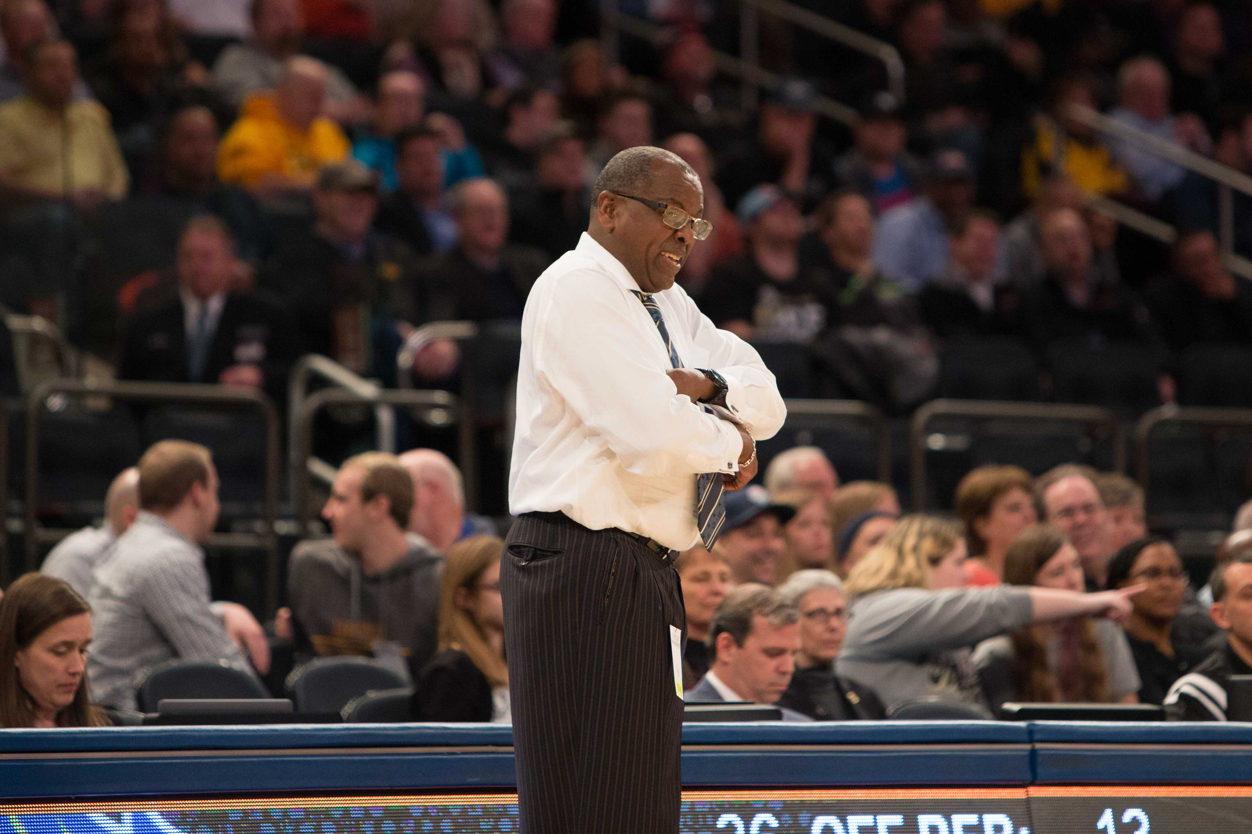 CSUB head coach Rod Barnes looks on as the Roadrunners fall to Georgia Tech in the NIT semifinals in Madison Square Garden. This was the first time an eighth seed has made it to New York City in the history of the NIT. Photo by AJ Alvarado/The Runner