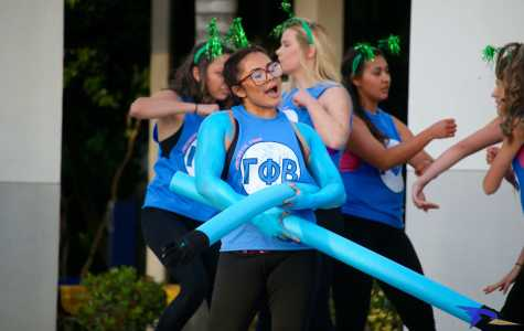 Jeannette Sevilla dresses up as Mr. Fantastic during last years Greek Week. Greek organizations participate in the annual Greek Week with activities like skits, house building, volleyball, and a lip sync battle.  The Runner Archives