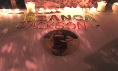 A vigil is held on Oct. 22, 2010 to honor Bianca Jackson. Screenshot of video from KGET-TV17