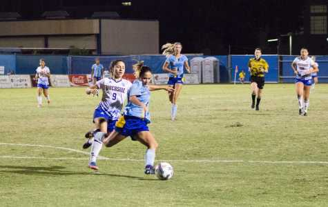 CSUB freshman midfielder Jeenna Bostrom attempts to clear the ball out of CSUB territory during Sunday night's game. It was her first start of the season.  Photo by Scot Swan/The Runner