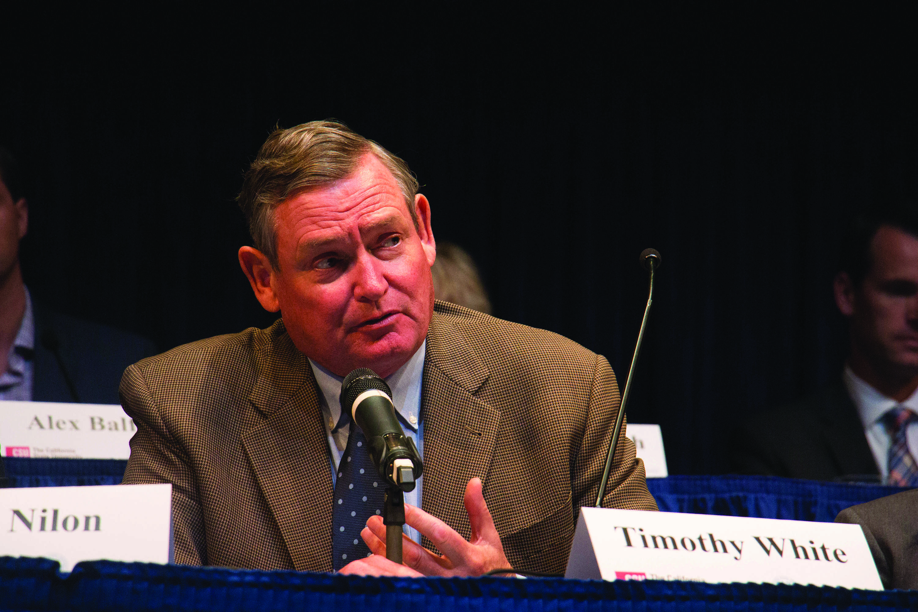CSU Chancellor Dr. Timothy White leads a Presidential search open forum on Oct. 30 in the Doré Theatre.  Photo by Andrew Paredez/ The Runner