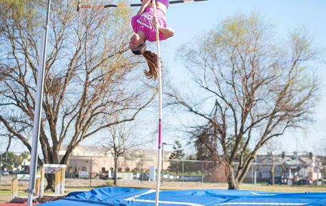Finch breaking pole vault records for CSUB