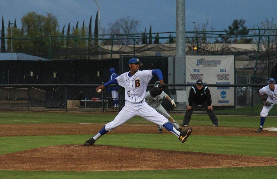 CSUB's No. 15, Davonte Butler delivers a pitch during the March 15 game against Dartmouth College.  Photo: Aaron Mills