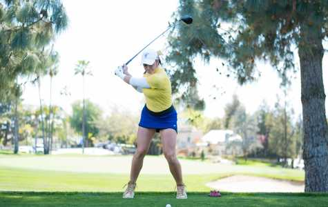 Sophomore Macey Mills prepares to drive at the Bakersfield Country Club on Monday, March 26 in a CSUB-CSUN dual.  Photo: Simer Khurana