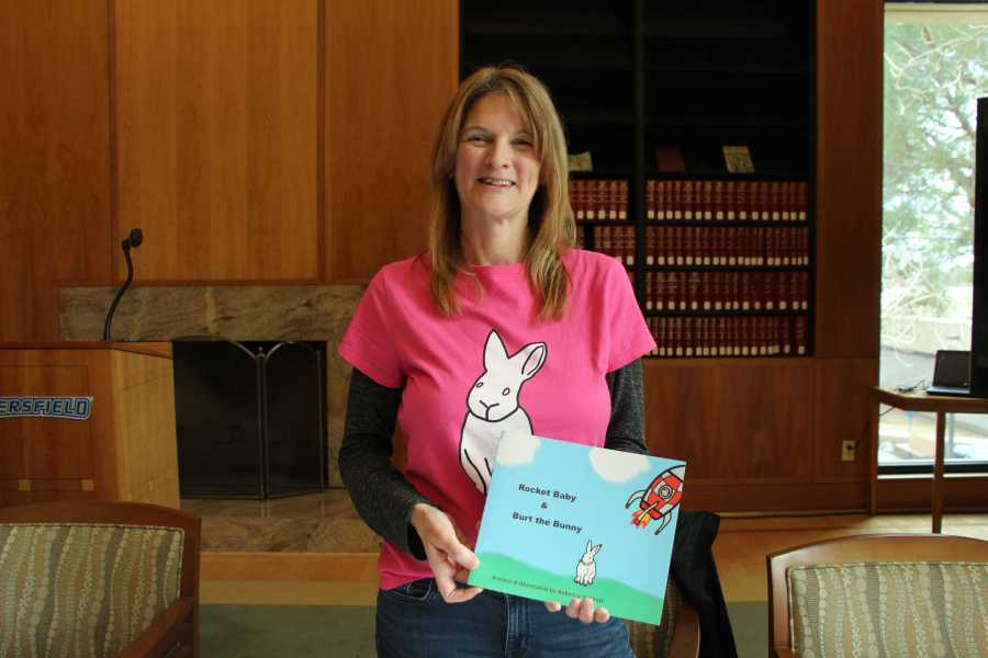 """Rebecca St. Croix Martinez showcases her children's book, """"Rocket Baby & Burt The Bunny,"""" on Tuesday, Feb. 5 in the Dezember Reading Room."""