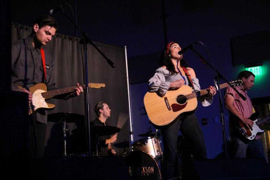 From left to right, Julian Ness, Tyler Miller, Jade Jackson, and Jake Vukovich perform at Temblor Brewing Company on Feb. 23.  Leo Garcia/The Runner
