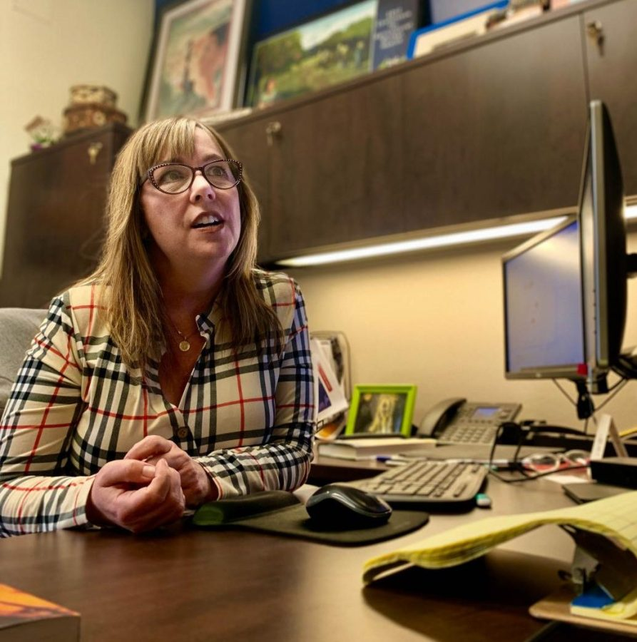 Jennifer Self, CSUB's Director of Public Affairs and Communications, enjoys the afternoon in her office in University Advancement.