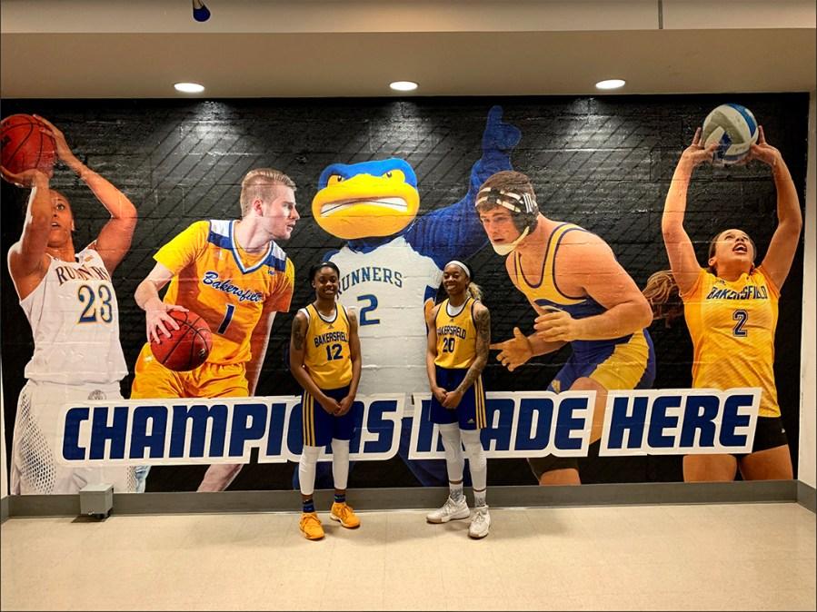 """JJ Reed/The Runner/ CSUB Women's Basketball Team players Alexxus Gilbert (left) and Jazmine """"JJ"""" Johnson (right) preparing for practice in the Icardo Center."""