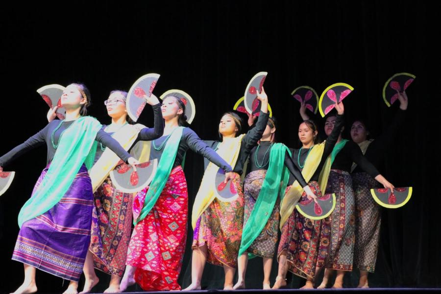 On April 5, Pilipino women dance inside the Dore Theatre for Pilipino Culture Night.  All photos by Sergio Hernandez/The Runner
