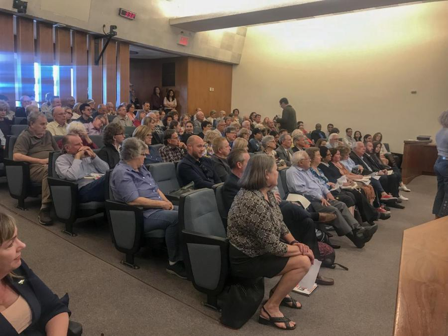 A large crowd gathered at Bakersfield City Hall South on April 9 to hear the Board of Zoning Adjustment's decision on whether to grant a conditional use permit to Coleraine Capital Group to develop off-campus student housing located on the corner of Stockdale Highway and Coffee Road.