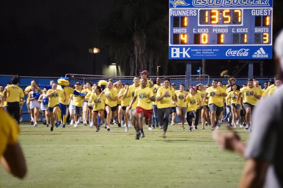The freshman class of 2023 at CSU Bakersfield run on the field for Rowdy Run that happened during the women's soccer game on Friday September 6 ,2019.