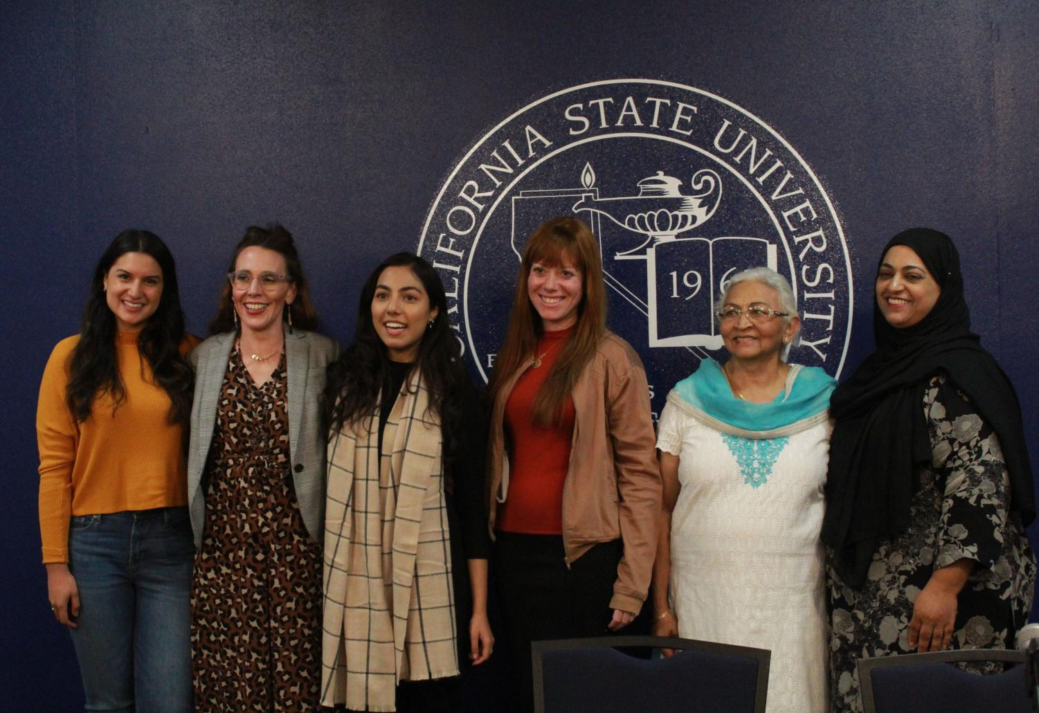 From left to right, Professor of Religious Studies Katy Hanson, CSUB student Nakiai Kiai, Common Grounds Club president Sumaiya Oila, Esther Schlanger, Sudha Bhatt, and Fauzia Shah during the Women, Religion, and Empowerment panel discussion hosted by Dr. John Young with Common Ground Club on Thursday November 21 in the Stockdale room at CSUB.