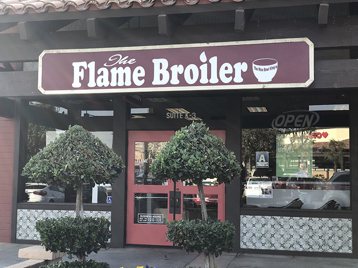 Outside the Flame Broiler located in the shopping mall at the corner of Coffee and Stockdale, Satuday, November 9, 2019.